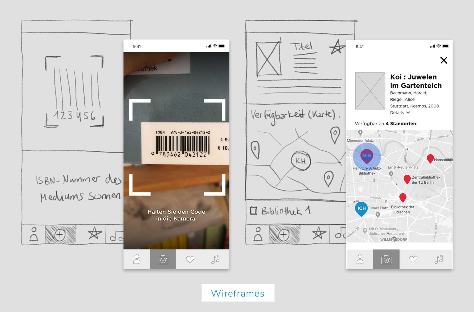 Berliner Bibliotheken, Wireframes, UX Design, App Features